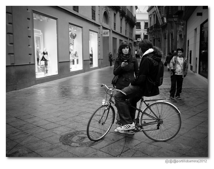Couple and bicycle